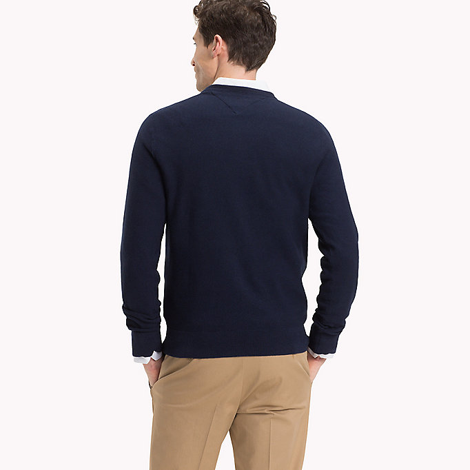 TOMMY HILFIGER Textured Crew Neck Jumper - MAJOLICA BLUE HEATHER - TOMMY HILFIGER Men - detail image 1