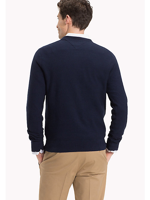 TOMMY HILFIGER Textured Crew Neck Jumper - NAVY BLAZER HTR - TOMMY HILFIGER Clothing - detail image 1