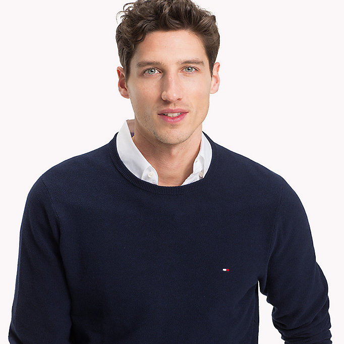 TOMMY HILFIGER Textured Crew Neck Jumper - MAJOLICA BLUE HEATHER - TOMMY HILFIGER Men - detail image 2