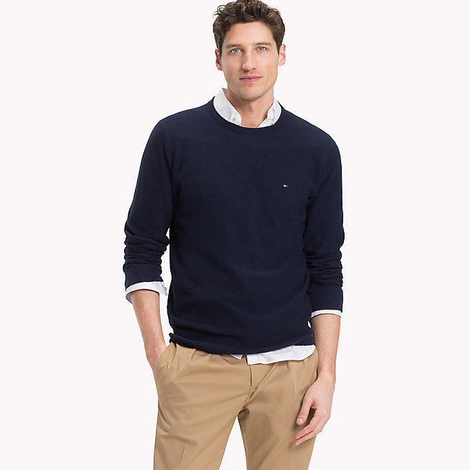 TOMMY HILFIGER Textured Crew Neck Jumper - MAJOLICA BLUE HEATHER - TOMMY HILFIGER Men - main image