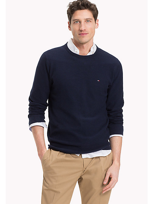 TOMMY HILFIGER Textured Crew Neck Jumper - NAVY BLAZER HTR - TOMMY HILFIGER Clothing - main image