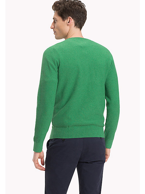 TOMMY HILFIGER Textured Crew Neck Jumper - JOLLY GREEN HEATHER - TOMMY HILFIGER Clothing - detail image 1