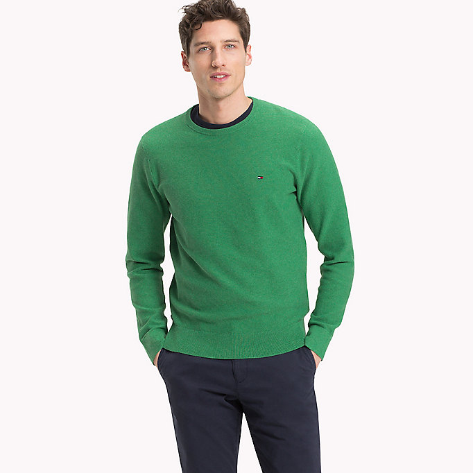 TOMMY HILFIGER Textured Crew Neck Jumper - CHARCOAL HEATHER - TOMMY HILFIGER Men - main image