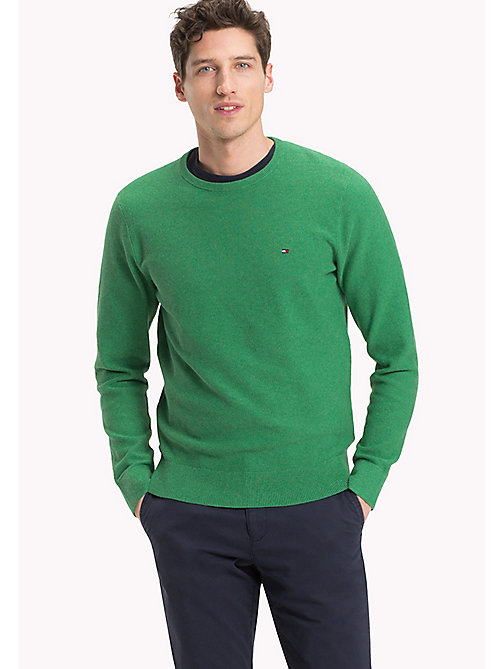 TOMMY HILFIGER Textured Crew Neck Jumper - JOLLY GREEN HEATHER - TOMMY HILFIGER Clothing - main image