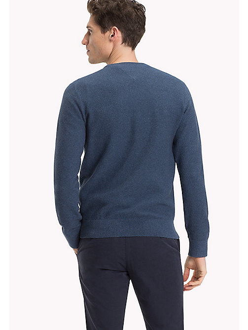 TOMMY HILFIGER Textured Crew Neck Jumper - MAJOLICA BLUE HEATHER - TOMMY HILFIGER Jumpers - detail image 1