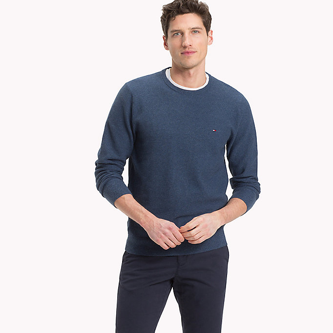 TOMMY HILFIGER Textured Crew Neck Jumper - SILVER FOG HTR - TOMMY HILFIGER Men - main image