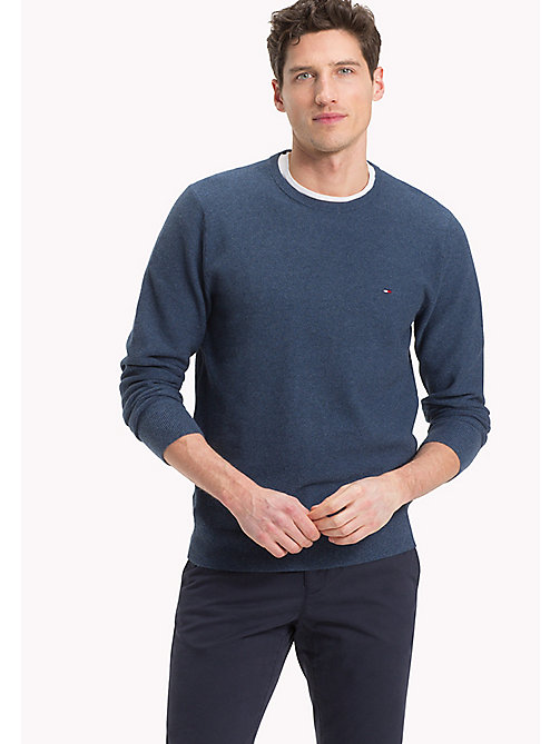 TOMMY HILFIGER Textured Crew Neck Jumper - MAJOLICA BLUE HEATHER - TOMMY HILFIGER Jumpers - main image
