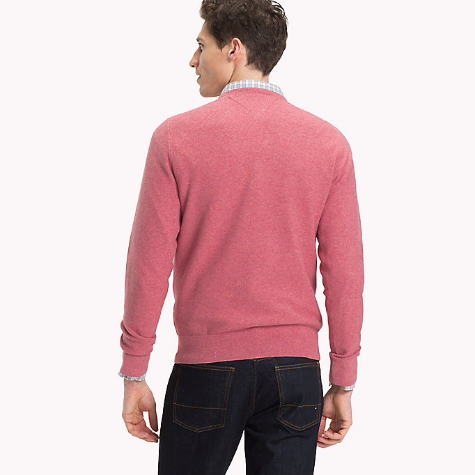 TOMMY HILFIGER Textured Crew Neck Jumper - NAVY BLAZER HTR - TOMMY HILFIGER Men - detail image 1