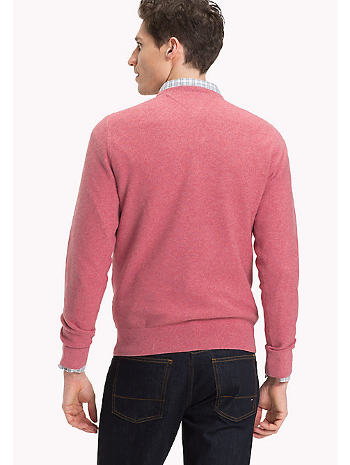 TOMMY HILFIGER Textured Crew Neck Jumper - DUSTY ROSE HTR - TOMMY HILFIGER Clothing - detail image 1