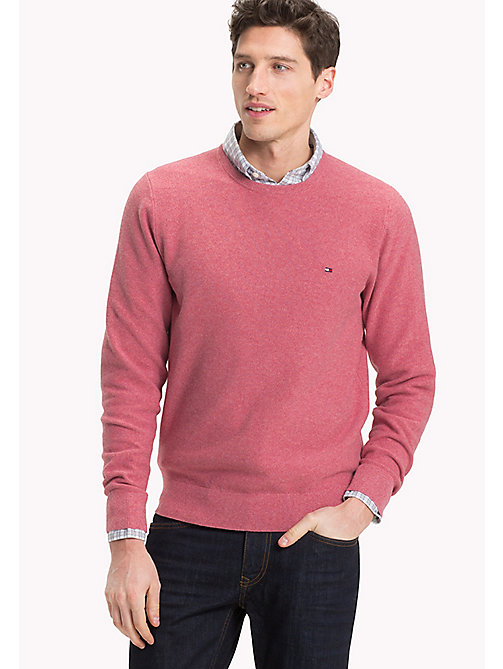 TOMMY HILFIGER Textured Crew Neck Jumper - DUSTY ROSE HTR - TOMMY HILFIGER Jumpers - main image