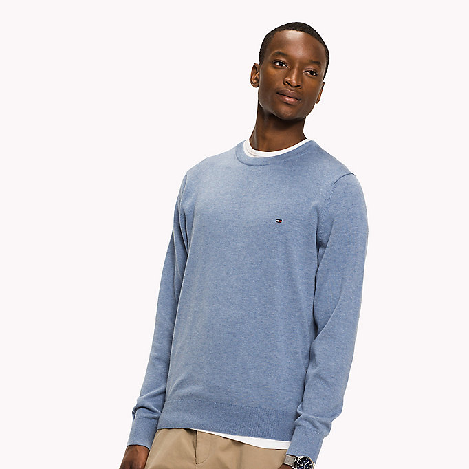 TOMMY HILFIGER Luxury Cotton Jumper - SKY CAPTAIN HEATHER - TOMMY HILFIGER Men - main image