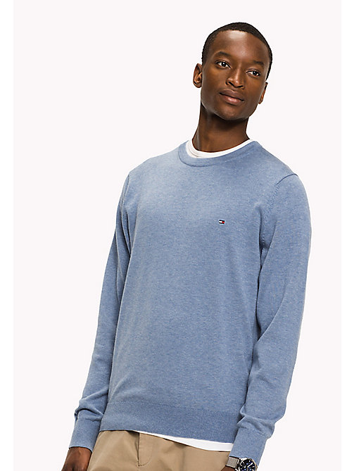 TOMMY HILFIGER Big & Tall Luxury Cotton Jumper - INFINITY HEATHER - TOMMY HILFIGER Big & Tall - main image
