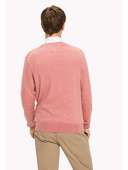 TOMMY HILFIGER Big & Tall Luxury Cotton Jumper - DUSTY ROSE HTR - TOMMY HILFIGER Big & Tall - detail image 1