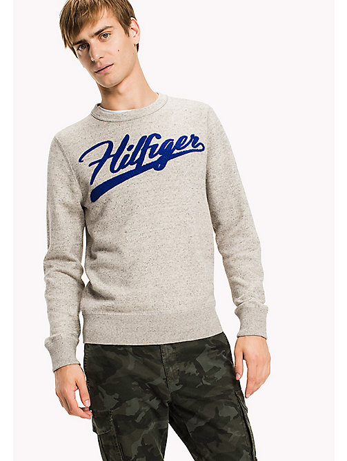 TOMMY HILFIGER Big & Tall Iconic Crew Neck Jumper - OYSTER GRAY HEATHER - TOMMY HILFIGER Big & Tall - main image
