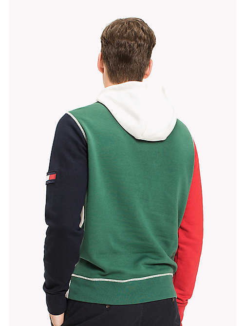 TOMMY HILFIGER Signature Colourblock Hoodie - SNOW WHITE / BARBADOS CHERRY / NAVY BLAZ -  Men - detail image 1