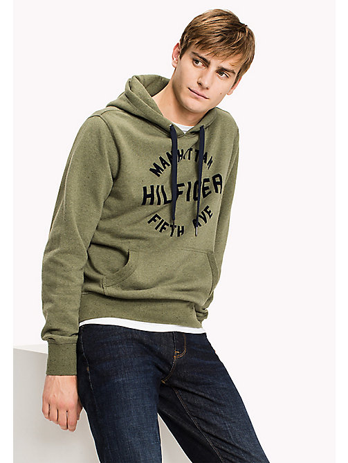 TOMMY HILFIGER Big & Tall Logo Print Hoodie - FOUR LEAF CLOVER - TOMMY HILFIGER Big & Tall - main image