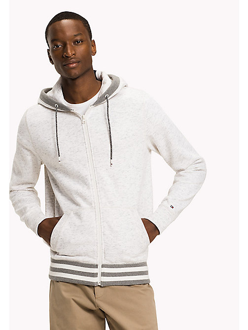 TOMMY HILFIGER Big & Tall Zip-Thru Hoodie - SNOW WHITE - TOMMY HILFIGER Big & Tall - main image