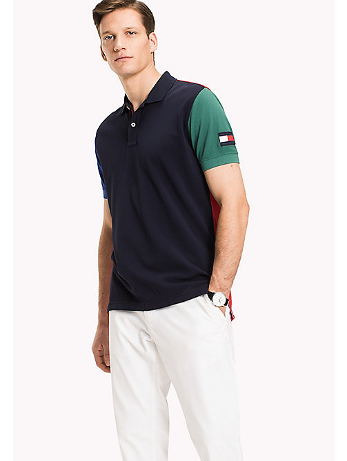 TOMMY HILFIGER Big & Tall Regular Fit Colourblock Polo - NAVY BLAZER / MULTI - TOMMY HILFIGER Big & Tall - main image