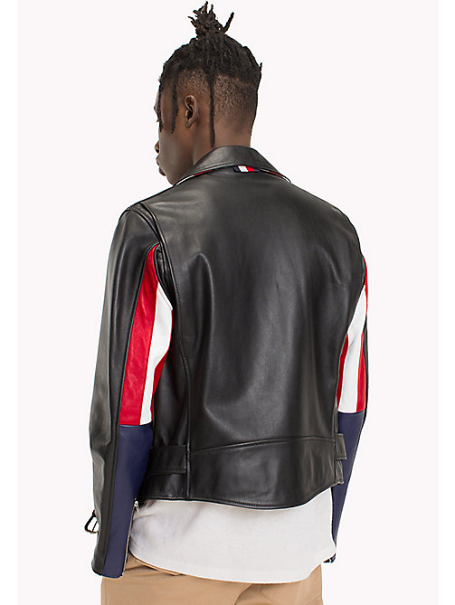HILFIGER COLLECTION Giacca biker in pelle con zip asimmetrica - BLACK - HILFIGER COLLECTION TOMMY'S PADDOCK - dettaglio immagine 1