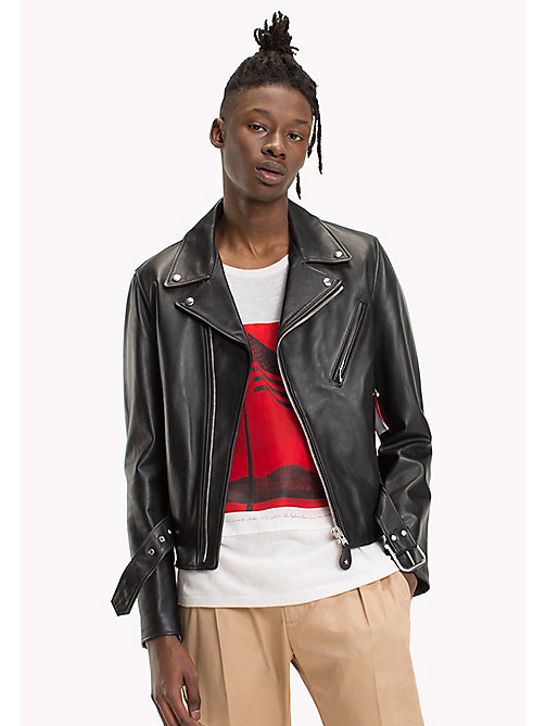 HILFIGER COLLECTION Leather Asymmetric Biker Jacket - BLACK - HILFIGER COLLECTION TOMMY'S PADDOCK - main image