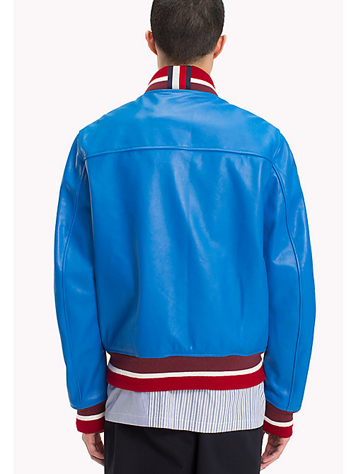 HILFIGER COLLECTION Retro Leather Bomber Jacket - DIRECTOIRE BLUE - HILFIGER COLLECTION Coats & Jackets - detail image 1