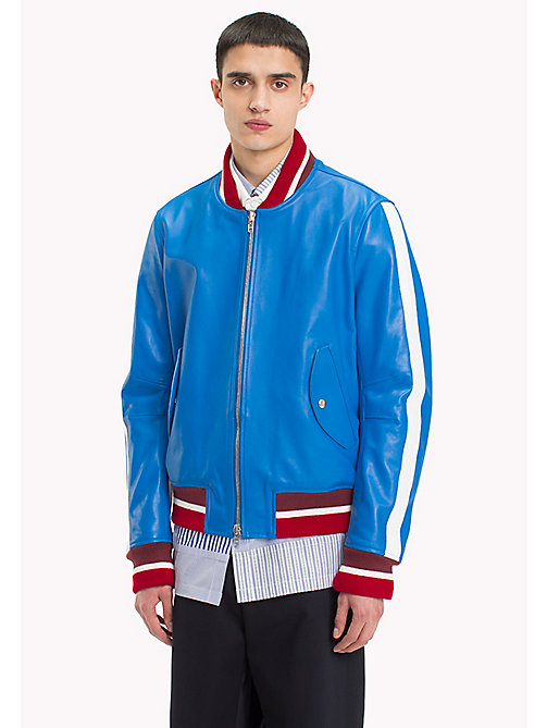 HILFIGER COLLECTION Retro Leather Bomber Jacket - DIRECTOIRE BLUE - HILFIGER COLLECTION Clothing - main image