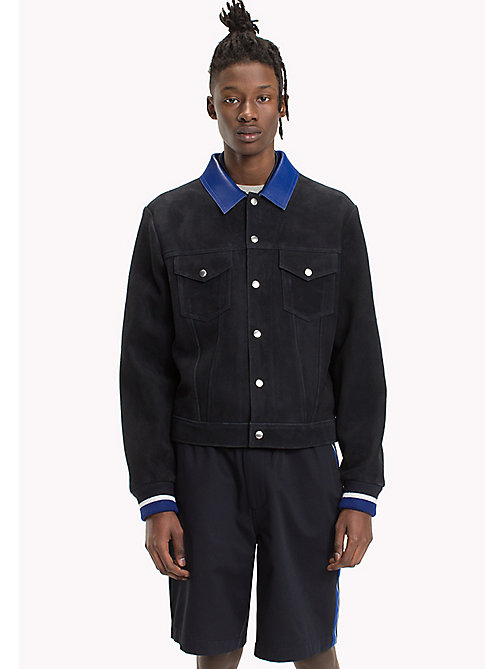 HILFIGER COLLECTION Contrast Collar Suede Jacket - SKY CAPTAIN - HILFIGER COLLECTION Clothing - main image