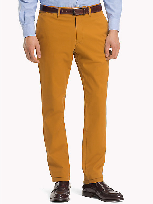 TOMMY HILFIGER Stretch Cotton Slim Fit Chinos - GOLDEN BROWN - TOMMY HILFIGER Chinos - main image