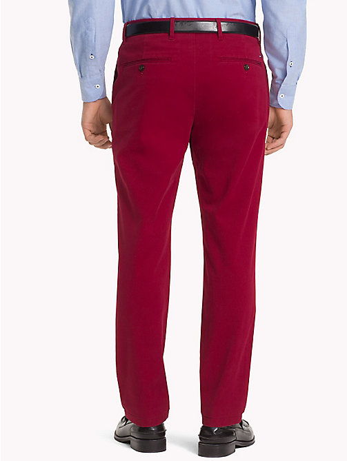 TOMMY HILFIGER Stretch Cotton Slim Fit Chinos - RHUBARB - TOMMY HILFIGER Chinos - detail image 1