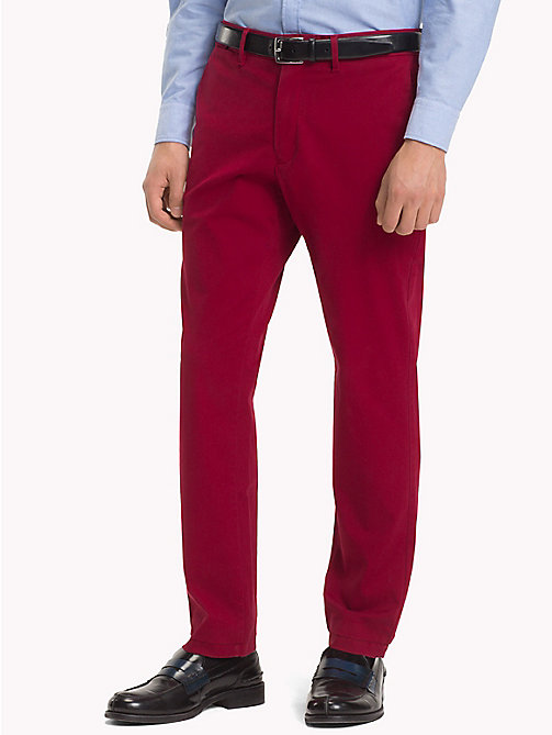TOMMY HILFIGER Stretch Cotton Slim Fit Chinos - RHUBARB - TOMMY HILFIGER NEW IN - main image