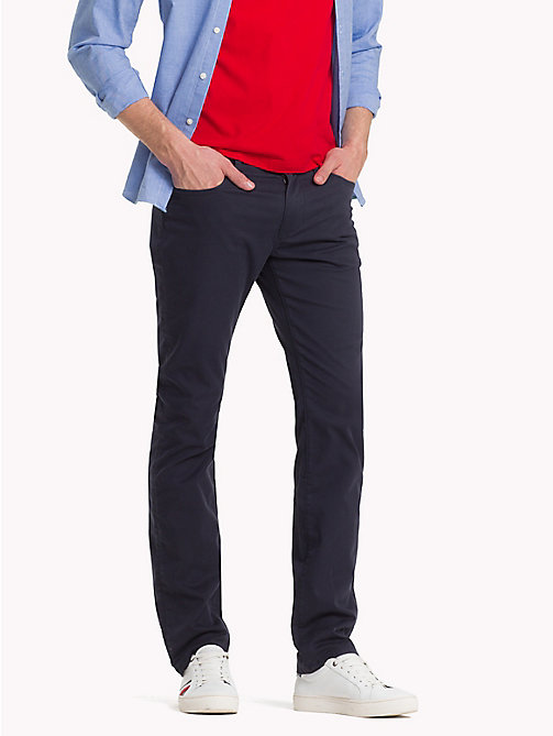 TOMMY HILFIGER Pima Cotton Twill Trousers - SKY CAPTAIN - TOMMY HILFIGER Clothing - main image