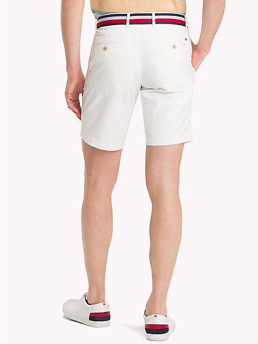 TOMMY HILFIGER Belted Cotton Twill Shorts - SNOW WHITE - TOMMY HILFIGER Clothing - detail image 1