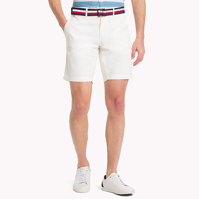 TOMMY HILFIGER Belted Cotton Twill Shorts - STRONG BLUE - TOMMY HILFIGER Men - main image