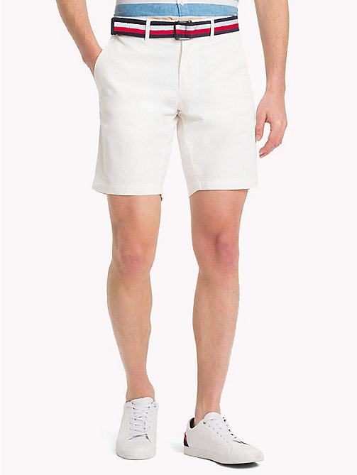 TOMMY HILFIGER Belted Cotton Twill Shorts - SNOW WHITE - TOMMY HILFIGER Shorts - main image