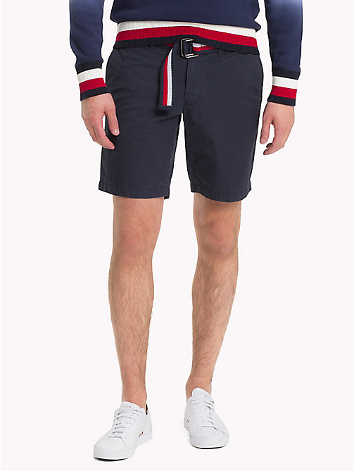 TOMMY HILFIGER Belted Cotton Twill Shorts - SKY CAPTAIN - TOMMY HILFIGER Clothing - main image