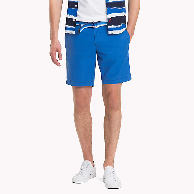 TOMMY HILFIGER Belted Cotton Twill Shorts - FREESIA - TOMMY HILFIGER Men - main image