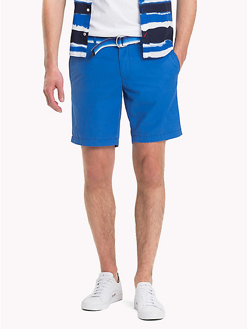 TOMMY HILFIGER Belted Cotton Twill Shorts - STRONG BLUE - TOMMY HILFIGER Shorts - main image