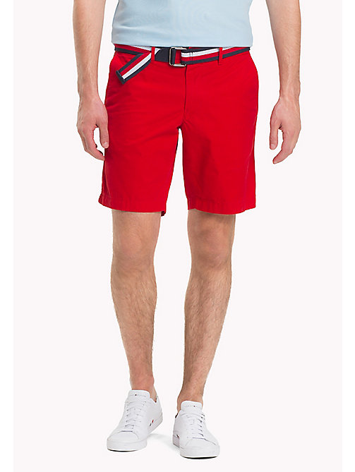 TOMMY HILFIGER Belted Cotton Twill Shorts - GOJI BERRY - TOMMY HILFIGER Shorts - main image