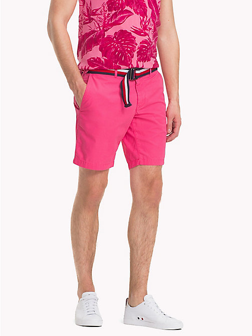 TOMMY HILFIGER Belted Cotton Twill Shorts - PINK LEMONADE - TOMMY HILFIGER Trousers & Shorts - main image