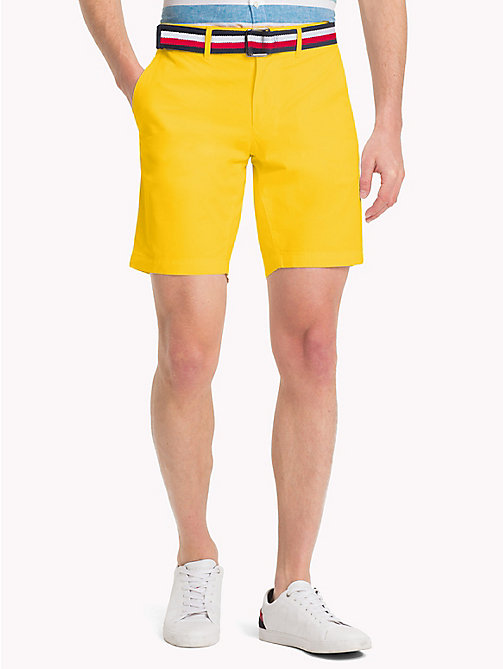 TOMMY HILFIGER Belted Cotton Twill Shorts - FREESIA - TOMMY HILFIGER Clothing - main image