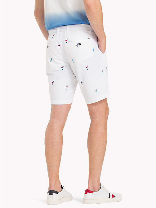 TOMMY HILFIGER Embroidered Cotton Twill Shorts - BRIGHT WHITE - TOMMY HILFIGER Trousers & Shorts - detail image 1