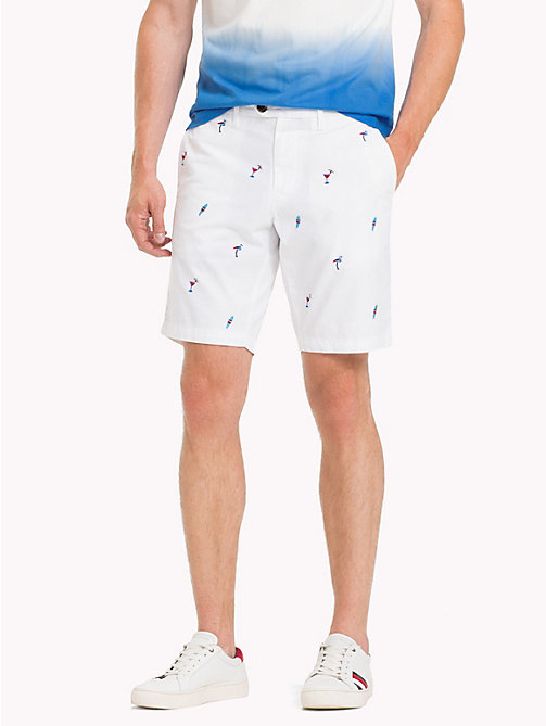 TOMMY HILFIGER Embroidered Cotton Twill Shorts - BRIGHT WHITE - TOMMY HILFIGER Shorts - main image