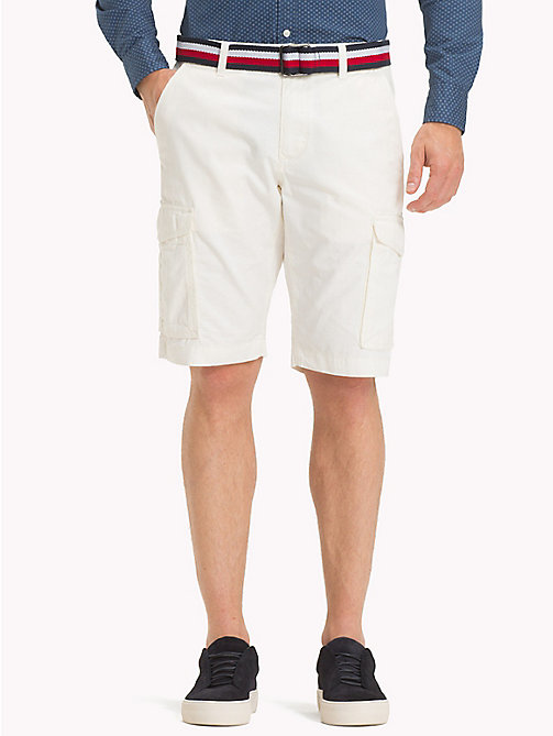 TOMMY HILFIGER Signature Belt Cargo Shorts - SNOW WHITE - TOMMY HILFIGER Shorts - main image