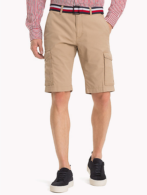 TOMMY HILFIGER Signature Belt Cargo Shorts - BATIQUE KHAKI - TOMMY HILFIGER Trousers & Shorts - main image