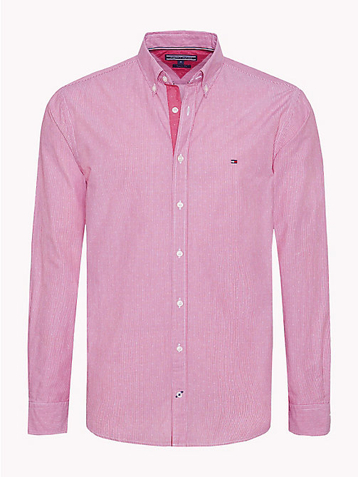TOMMY HILFIGER Stripe Dobby Cotton Shirt - HAUTE RED - TOMMY HILFIGER Casual Shirts - main image