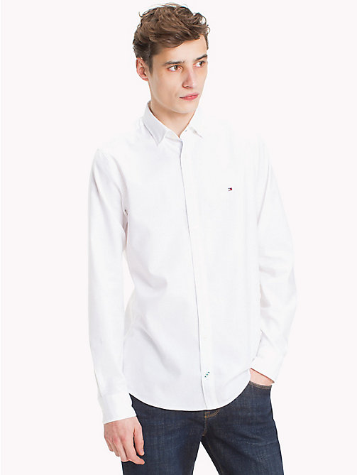 TOMMY HILFIGER Slim Fit Dobby Cotton Shirt - BRIGHT WHITE - TOMMY HILFIGER Casual Shirts - detail image 1