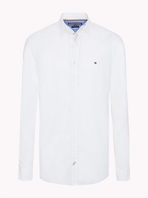 TOMMY HILFIGER Slim Fit Dobby Cotton Shirt - BRIGHT WHITE - TOMMY HILFIGER Casual Shirts - main image