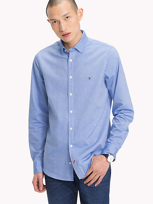TOMMY HILFIGER Slim Fit Dobby Cotton Shirt - STRONG BLUE - TOMMY HILFIGER Casual Shirts - detail image 1