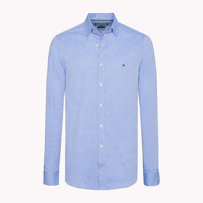 TOMMY HILFIGER Slim Fit Dobby Cotton Shirt - BRIGHT WHITE - TOMMY HILFIGER Men - main image