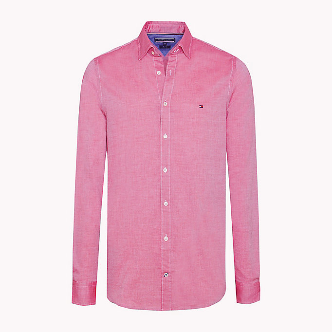 TOMMY HILFIGER Slim Fit Dobby Cotton Shirt - HARBOR BLUE / BRIGHT WHITE - TOMMY HILFIGER Men - main image
